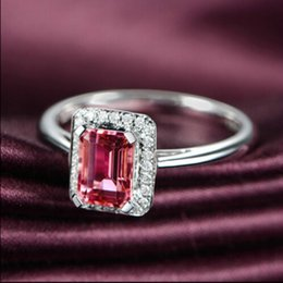 Wholesale 1 natural pink tourmaline gem ring S925 pure silver color Mosaic crystal act the role ofing is tasted
