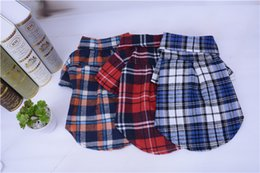 The 2017 Spring Summer Dog Clothes Classic Plaid Shirt Pet Clothes Hawoo with color of Blue Red Orange