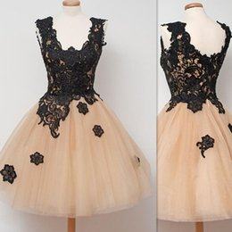 Black Lace Champagne Tulle Short Prom Dresses Ball Gown Summer Homecoming Party Cocktail Gowns For Girls Custom Made