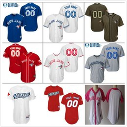 2017 Mens Ladies Youth stitched coolbase flexbase baseball jerseys custom salute Toronto Blue Jays red grey white green blue baseball shirt
