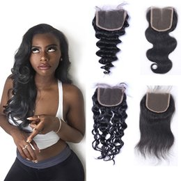 Resika 4x4 Lace Closure Straight Clsosure Virgin Peruvian Human Hair Free Middle Three Part Closure Body Wave Deep Wave Curly Natural Color