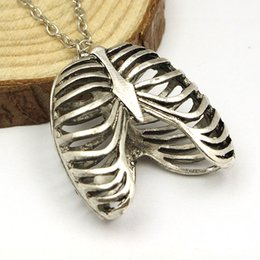 Wholesale Ribcage Ribs Anatomy Anatomical Pendant Charm Necklace Silver toned Gothic Science Geek