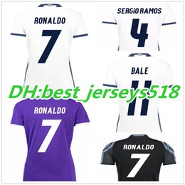 Wholesale best quality women Real madrid soccer Jersey lady RONALDO Away JAMES BALE RAMOS ISCO MODRIC black woman football shirt