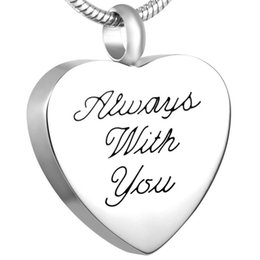 "IJD8538 ""Always with you"" Heart Memorial Urn Necklace Cremation Jewelry Stainless Steel Keepsake Pendant with Customzied Engraving"