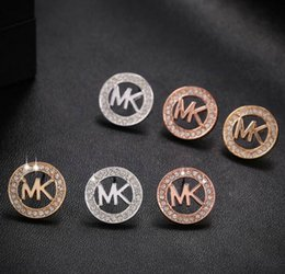 Wholesale Crystal Fashion Jewelry Wholesaler - MK Michael Kores style Tone earrings Letters stud earings Fashion jewelry brand jewellery for women girls Silver Gold Rose Gold MSE06