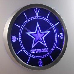 Signes de cow-boy en Ligne-Vente en gros-nc0503 Dallas Cowboys Neon Sign LED horloge murale