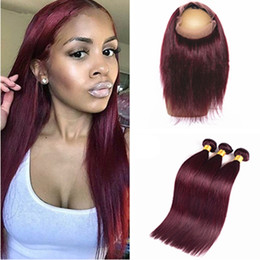 #99J Burgundy Brazilian Silk Straight Virgin Human Hair 3 Bundles With Pre Plucked 360 Ear to Ear Full Lace Band Frontal Closure