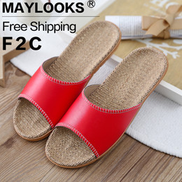 2017 Hot Sale Fashion Summer Home Slippers PU Leather Men Slippers High Quality Hemp Indoor Shoes Lovers Non-Slip House Slippers