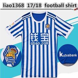 17 18 Real Sociedad Home Soccer Jersey 17 18 Real Sociedad short sleeve soccer shirt 2018 blue white Football uniforms Sales football shirt
