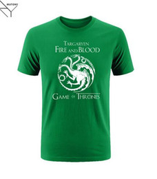 New 2017 quality cotton blend FIRE AND BLOOD house TARGARYEN print O neck men TEES casual Games of Thrones men's T shirts