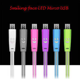 For Samsung  Android Ip 5 6 7 1M Smiling face LED USB Micro USB charger Cable