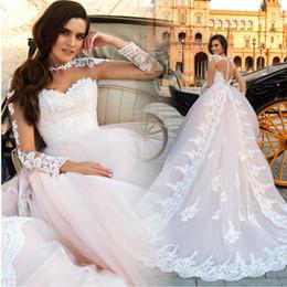 2017 New Vintage Lace Wedding Dresses Modest Blush Pink Long Train A Line Off Shoulders Lace Appliqued Arabic Bridal Gowns