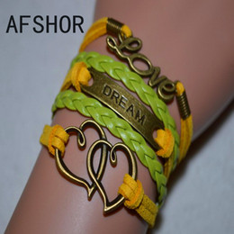 Braided Yellow Green Leather Suede Heart DREAM LOVE Cuff Charm Wrap Bracelet Bangles Fashion Women Men Accessories Alloy Jewelry