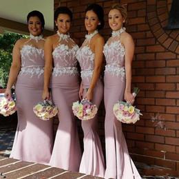 2017 Hater Beach Peach Mermaid Bridesmaid Dresses Sheer Neck Applique Satin Long Custom Made Cheap Bridesmaid Gowns Formal Dresses BO8916