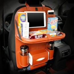 Universal PU cuir siège de voiture arrière de rangement Organisateur de voiture multifonctions avec plateau pliable Boîte de tissu multi poches à partir de fonction de retour fabricateur