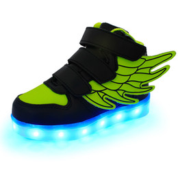 Kids children shoes winged à vendre-2016 New Kids USB Charging LED Light Shoes Soft Leather Casual BoyGirl Luminous Antiskid Bottom Enfants Wings Party Sneakers