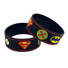 Wholesale 50PCS Lot Justice League Of America Silicone Bracelet With: Batman Superman Green Lantern The Flash Wonder Woman Aquaman