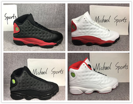 retro 13 bred basketball shoes history of flight HOF DMP black cat he got game play off barons sneakers men women Michael Sports