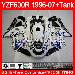 Wholesale 8gifts blue flames For YAMAHA Thundercat YZF600R NO103 YZF R YZF R Fairing gloss black Kit