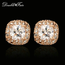 Classic CZ Diamond Stud Earrings For Women Square Cut CZ Stone Fashion Silver Color 18K Rose Gold Plated Wedding Jewelry Crystal DFE043