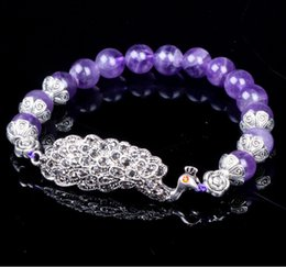 Wholesale factory Brazil old pit Natural Amethyst jewelry diamond bracelet jewelry peacock the Qixi Festival Valentine s Day