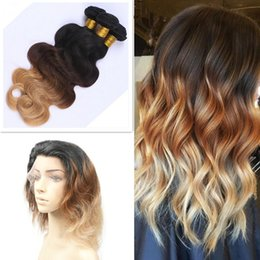 Honey Blonde Ombre Color #1B 4 27 Body Wave Virgin Human Hair Bundles With 360 Lace Band Frontal Closure 22.5*4*2