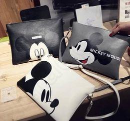 Promotion mickey bourse Mickey Mouse sac à main sac à bandoulière sac à main Sac Messenger Hobo enveloppe imprimé sac à main d'embrayage 3 couleurs LJJRI