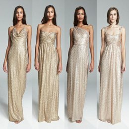Champagne Gold Sequined Bridesmaids Dresses Empire Maid Of Honor Bling Long Plus Size Pregnant Maternity Formal Evening Prom Gowns BA4102
