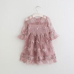 Wholesale Baby Girls Lace tutu Dresses Kids Girl Princess Floral Dress Girl Spring Party Dress Babies children s clothing