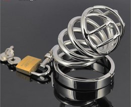 2018Latest Medium Male Stainless Steel Bondage Chastity Belt Device Cock Cage Penis Ring Adult BDSM Sex Toy Product A080