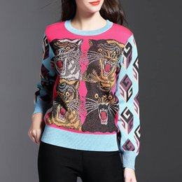 European and American winter new style tiger head design round neck long sleeve knit pullover sweater
