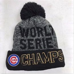 Wholesale SAMPLE ORDER Knit MLB chicago cubs hat winter beanie caps world series champs hats baseball clubs team hats beanies for men STOCK