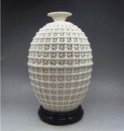 Chinese Dehua Porcelain Carved Hollowed Basket Big Vase