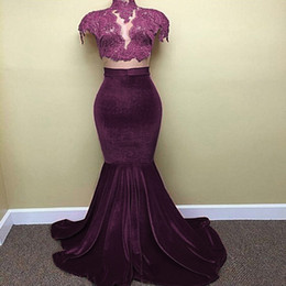 New Women Red Cap Sleeves Prom Dresses Mermaid High Collar Lace Top Appliques Beaded Stretch Skirt Long Evening Gowns Party Dresses
