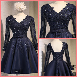 Promotion robe de conception de cristal courte Livraison gratuite nouvelle conception bleu marine bretelles appliques en dentelle robe de bal bordés en cristal robe de cocktail robe de soirée longue tenue de soirée