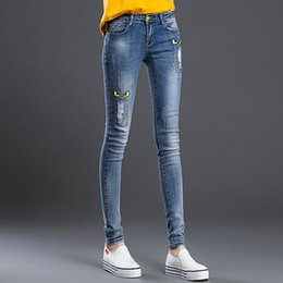 Wholesale Female Skinny Jeans Hole Trousers Pencil Pants Womens Girls Denim Pants Brnad Clothing Good Quality Big Size Blue