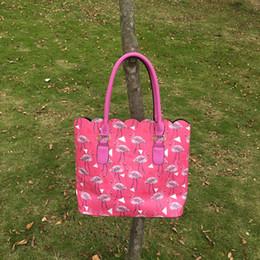 Monedero de cuero de imitación al por mayor en venta-Venta al por mayor Blanks Hawai PU Faux cuero Tote Bolsa Flamingo Scalloped monederos Rosa Color Primavera Moda Mujeres Tote DOM103471