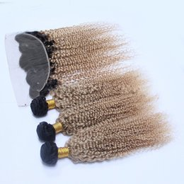 2017 27 bouclés ombre Ombre Hair Extensions With Lace Frontal 1B / 27 Honey Blonde Ombre Afro Kinky Curly Virgin Human Hair Full Frontal Closure With Bundles 27 bouclés ombre promotion