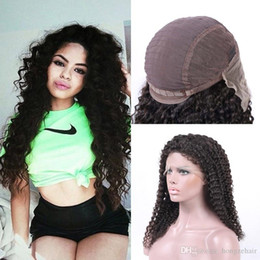 Brazilian Pre Plucked Lace Frontal Kinky Curly 6-24inch Natural Hairline Peruvian Virgin Human Hair With Cap And Elastic Straps Knots