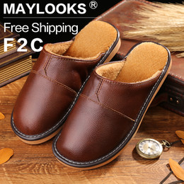 New 2017 Spring Autumn Genuine leather shoes slippers men shoes home slip leather sandals slippers shoes flat