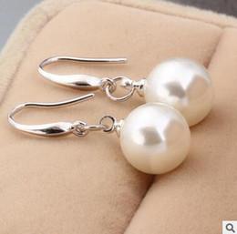 Korean air quality 925 pure silver ear nail female pearl pure silver South Korea long earpiece