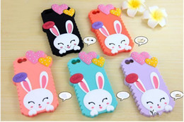 cell phone case 3D lovely Heart Rabbit soft Silicon Case for iphone 5 5s 6 6plus