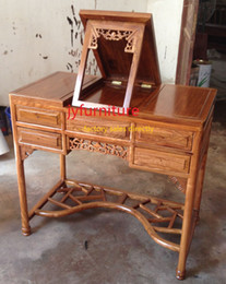 Wholesale Home dressing table pieces set writing table bedroom tables make up desk solid wood dessers stool folding desk in african rosewood