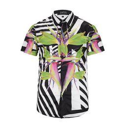 new 2017 Of Men Floral Print Colour Mixture Luxury Casual Harajuku Shirts short sleeves Men's Medusa Shirts M--2XL