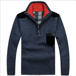 Wholesale New Hot SaleMen s Sweaters Thick Warm Winter Zipper Pullover Cashmere Wool Sweaters Man Casual Knitwear Fleece Velvet Clothing Big Size XXXL