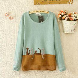 Wholesale Fashion color block decoration applique cat pullover sweater
