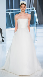simple romantic elegant a line wedding dresses 2018 peter langner spring bridal strapless straight lightly embellished bodice chapel train