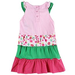 Wholesale Cosy House Baby Girls Sleeveless Floral Princess Party Dress with nots and buttons for spring and summer