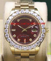 Promotion les brunes Montre-bracelet de luxe 18k jaune or marron Dial 41mm président jour-date 18038 Montre plus gros diamant mécanique hommes montres de qualité supérieure