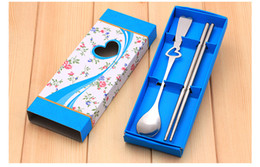 Hollow heart spoon chopsticks two sets of tableware box free shipping wedding gifts wholesale kitchen tools favours